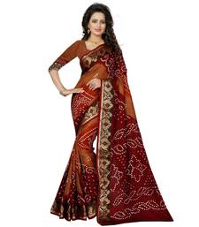 Buy Brown printed bhagalpuri silk saree with blouse bandhani-sarees-bandhej online