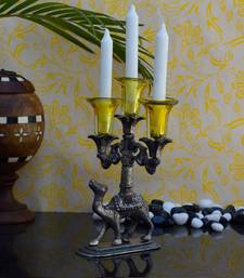 Buy eCraftIndia Yellow Crystal Candle Stand candle online