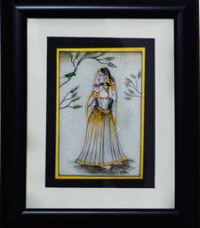 Buy eCraftIndia Ragini Marble Painting with Parrot (Wooden Framed) wall-art online