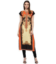 Buy orange faux crepe crepe  stitched kurti long-kurti online