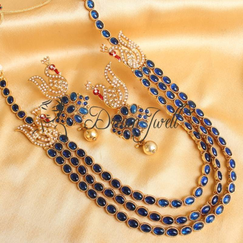 Where To Buy Bed Sheets Buy GORGEOUS BLUE KEMP PEACOCK MUGAPPU NECKLACE SET Online