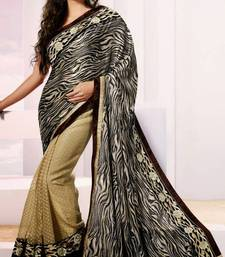 Buy  Black And Beige Shaded Satin Saree With Blouse satin-saree online