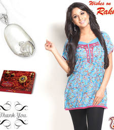 Buy Embroidery Yoke Tunic and Mother of Pearl Pendant sister Hamper gifts-for-sister online