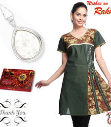 Buy Embroidered Cotton Flaired Kurti and Shell Pendant sister Hamper gifts-for-sister online
