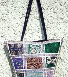 Buy Elegant Hand bag with hand embroidered patch work handbag online