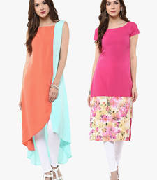 Buy Multicolor printed crepe party-wear-kurti combo-kurti online