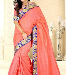 Buy Carrot Pink Color Bhagalpuri Silk Saree With Blouse bhagalpuri-silk-saree online