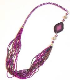 Buy Chic and dainty bright purple seed bead off center necklace Necklace online