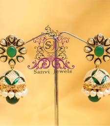 Gorgeous Dangling Green & Pearl Jhumki  shop online