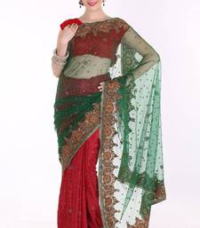 Buy Pine Green and Cardinal Red Net and Crepe Jacquard Festival Saree net-saree online