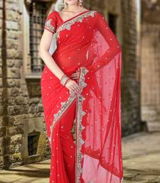 Buy Coral Red Faux Georgette Embroidered Party and Festival Saree designer-embroidered-saree online