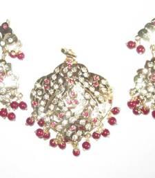 Buy Ruby red Pink navratan jadau gold plated pendant dangler earring set Pendant online