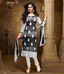 Buy Designer Black & White Chiffon Salwar Kameez  dress-material online