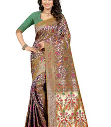 Buy Brown embroidered patola saree with blouse patola-sari online