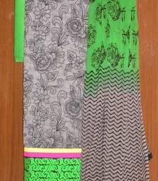 Buy Beautiful grey & Green chanderi salwar kameez dress-material online
