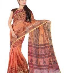 Buy Kota doria hand block saree with tissue border 				 cotton-saree online