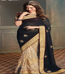 Buy Black embroidered net saree with blouse tamanna-bhatia-saree online