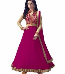 Buy rani pink embroidered pure net semi stitched salwar with dupatta semi-stitched-salwar-suit online