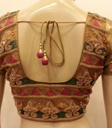 Golden handwork blouse shop online