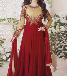 Buy Maroon embroidered georgette salwar with dupatta semi-stitched-salwar-suit online