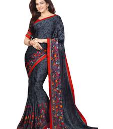 Buy black printed georgette saree with blouse georgette-saree online