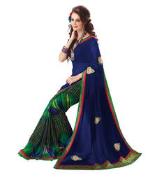 Attractive Blue & Green Georgette Embroidered Saree shop online
