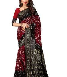 Buy Maroon printed silk saree with blouse bollywood-saree online