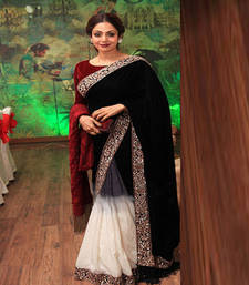 Buy Black embroidered velvet saree with blouse sridevi-saree online