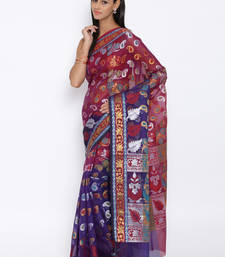 Buy Royal blue woven cotton saree with blouse cotton-saree online