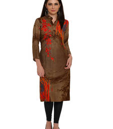 Buy Brown embroidered rayon party-wear-kurtis party-wear-kurti online