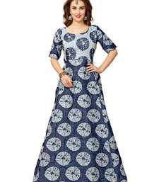 Buy navy blue cotton silk printed readymade suits readymade-suit online