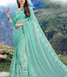 Buy Sky blue hand woven net saree with blouse wedding-saree online