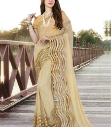 Buy Light beige embroidered net saree with blouse wedding-saree online