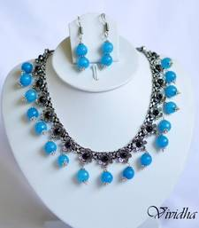 Buy White Metal and Blue Beads Necklace set necklace-set online