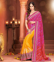 Buy Designer Embroidered Work Sarees Spellbind Orange & Pink Georgette designer-embroidered-saree online