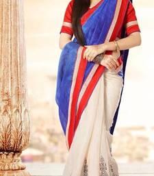 Buy Designer Blue & Off-white Bhagalpuri Silk Saree viscose-saree online