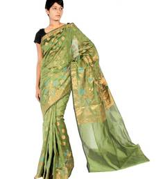 Buy Faux Chanderi Banarasi Fancy Zari Work Saree faux-saree online