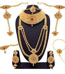 Buy Red cubic zirconia necklace-sets bridal-set online