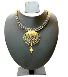 Buy Traditional Stone Necklace & Earring - Blue necklace-set online