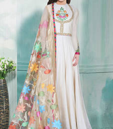 Buy Off white embroidered cotton semi stitched salwar with dupatta anarkali-salwar-kameez online