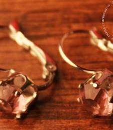 Buy Big Pink Crystal Shell Earrings Brushed Silver attached Pink Gemstone valentine-gift online