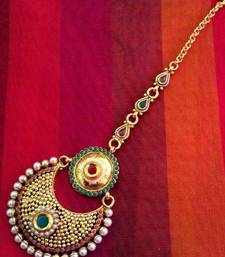 Buy Maroon green pearl kundan mang tikka India ethnic copper hair jewelry ADIVA AB51 abma0239mg maang-tikka online