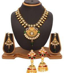 Buy Diwali Discount offers - Vendee Fashion Diamonds & kundan studded combo jewellery (1329) necklace-set online
