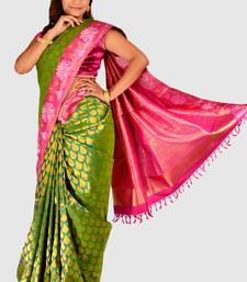 Buy Designer Green Zari weaved Kanjeevaram saree with Rani Pink Border - SR1196 silk-saree online