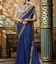 Buy Navy blue embroidered crepe saree with blouse wedding-saree online