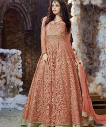Buy Orange embroidered georgette unstitched salwar with dupatta wedding-salwar-kameez online