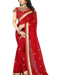 Buy Maroon plain georgette saree with blouse party-wear-saree online