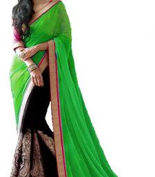 Buy New bollywood Green style latest partywear half half saree chiffon-saree online