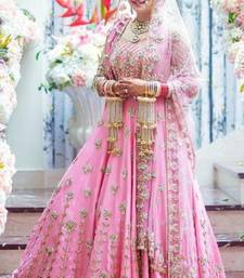 Buy Pink embroidered satin unstitched lehenga ghagra-choli online