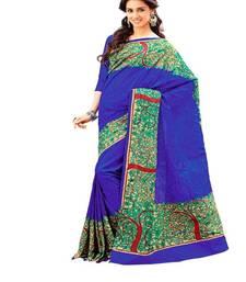 Buy Royal blue raw silk saree Diwali gifts Aria printed 2378 tussar-silk-saree online